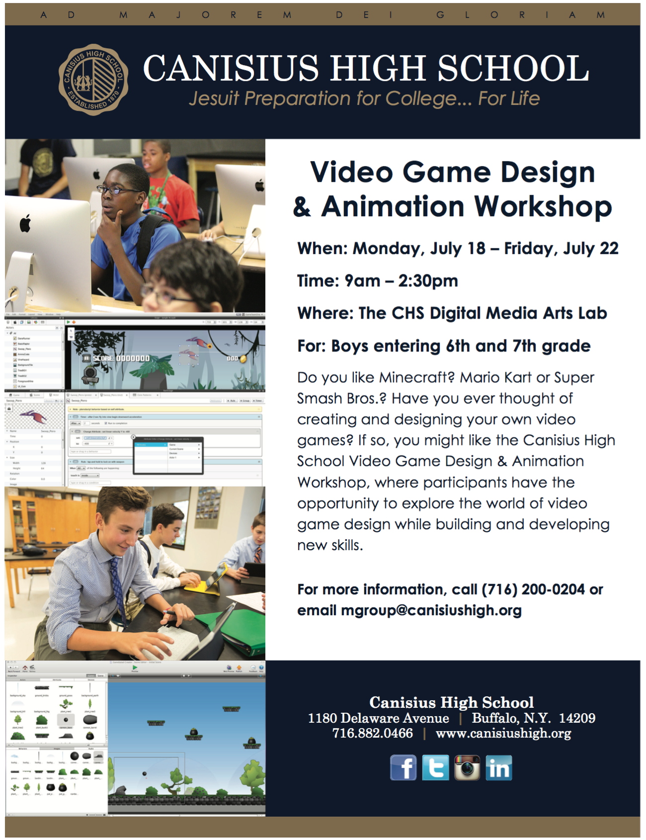 Video Game Design Workshop At Chs Canisius High School
